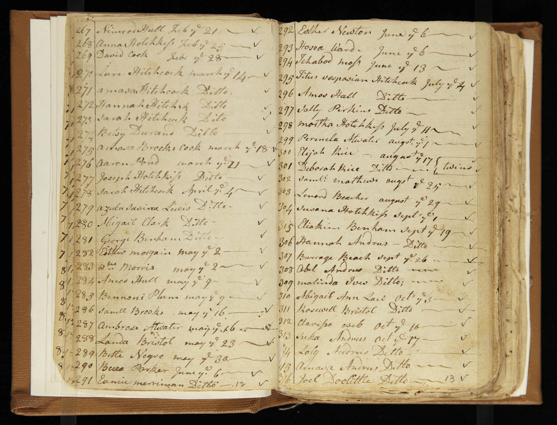 Parson Foot's baptism records, 1773